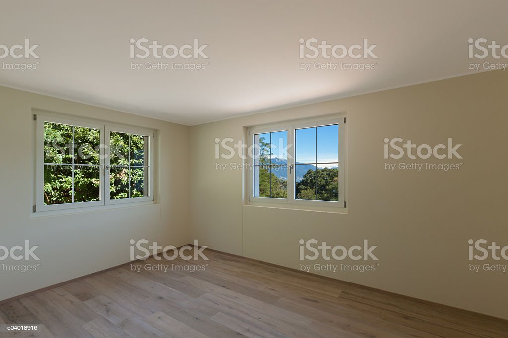 Interior, room with two windows stock photo