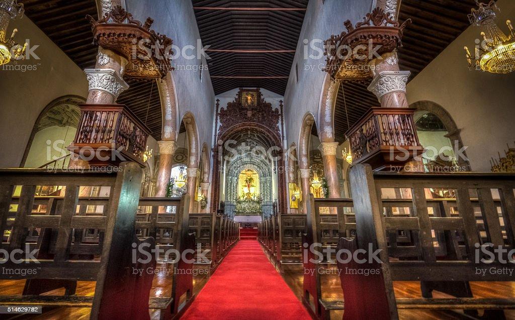 Interior San Sebastian church stock photo