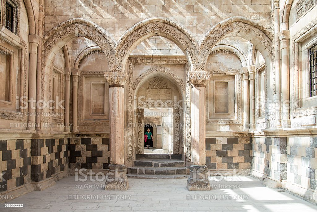 Interior scene from Ishak Pasha Palace (İshak Pasa Sarayi) stock photo