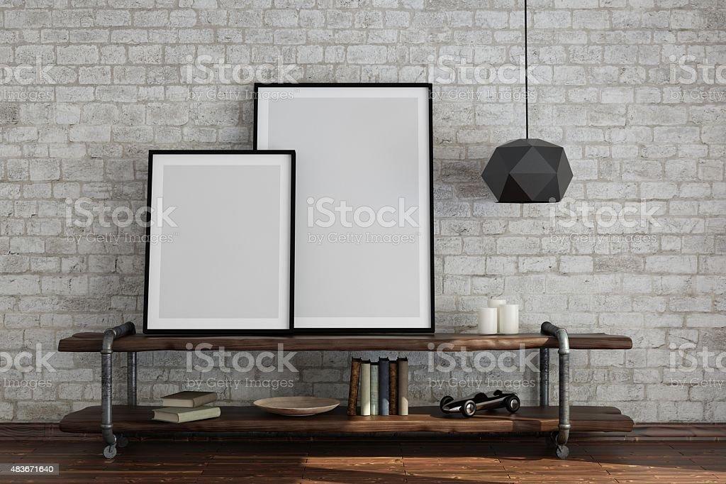 Interior scene with blank frames stock photo