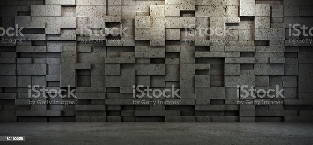 Interior scene with concrete stock photo