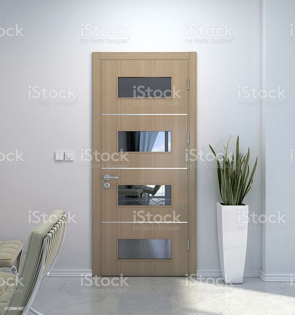 Interior scene with door stock photo