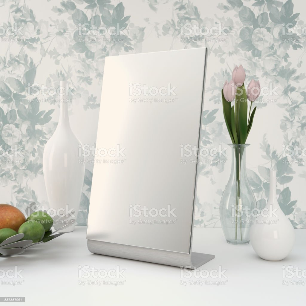 Interior Scene with Table Mirror, Vase and Decorations stock photo