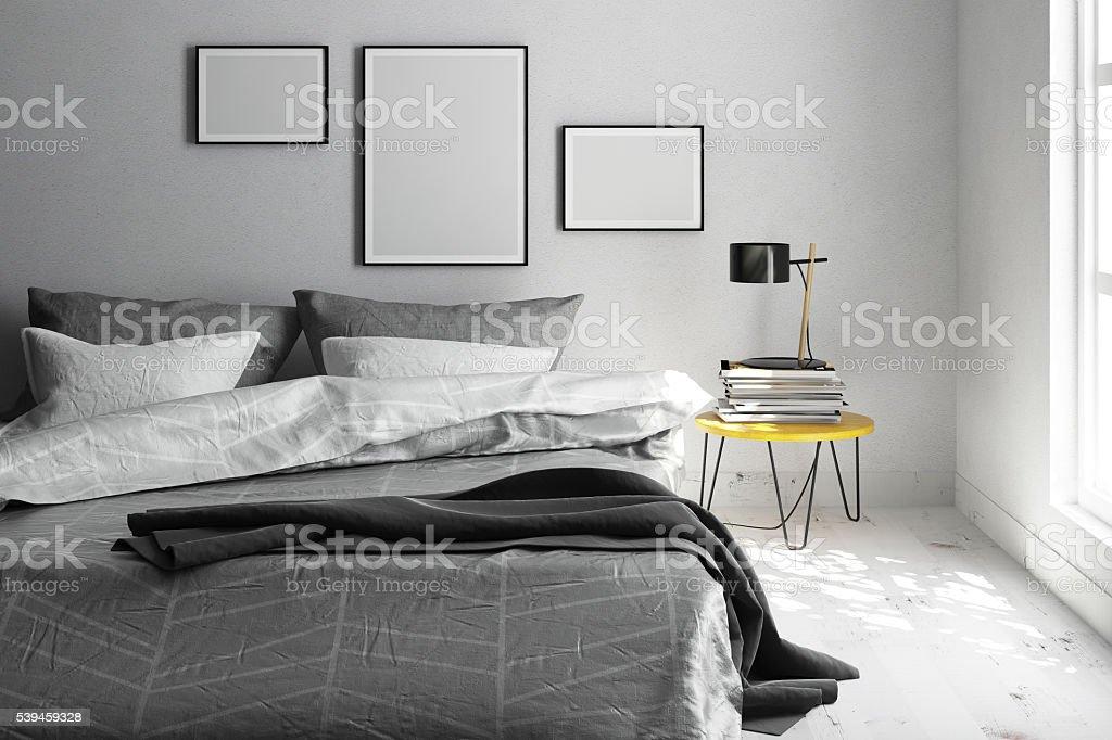 Interior scene with three blank frames stock photo