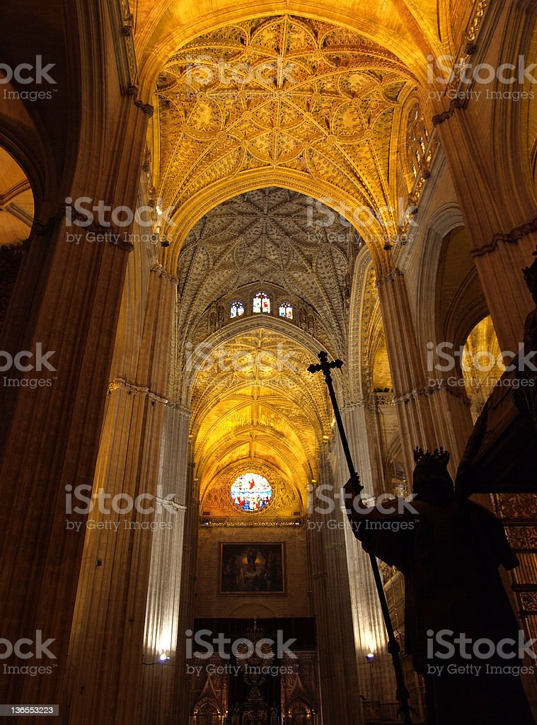 Interior, Seville Cathedral royalty-free stock photo