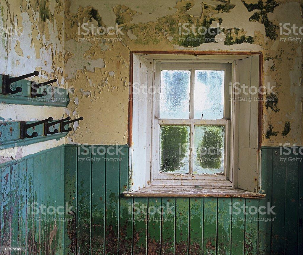 Interior shot in derelict schoolhouse, island of Scarp royalty-free stock photo