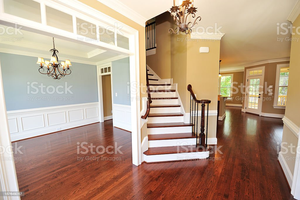 Interior shot of classic styled foyer with stairs royalty-free stock photo