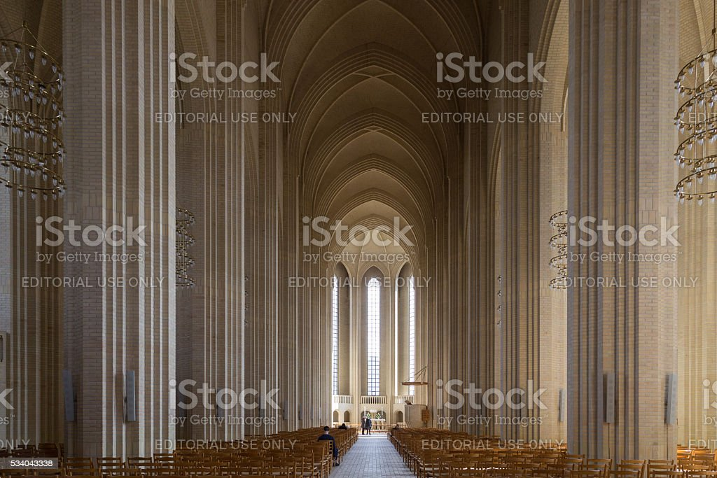 Interior shot of Grundtvigs Church in Copenhagen, Denmark stock photo