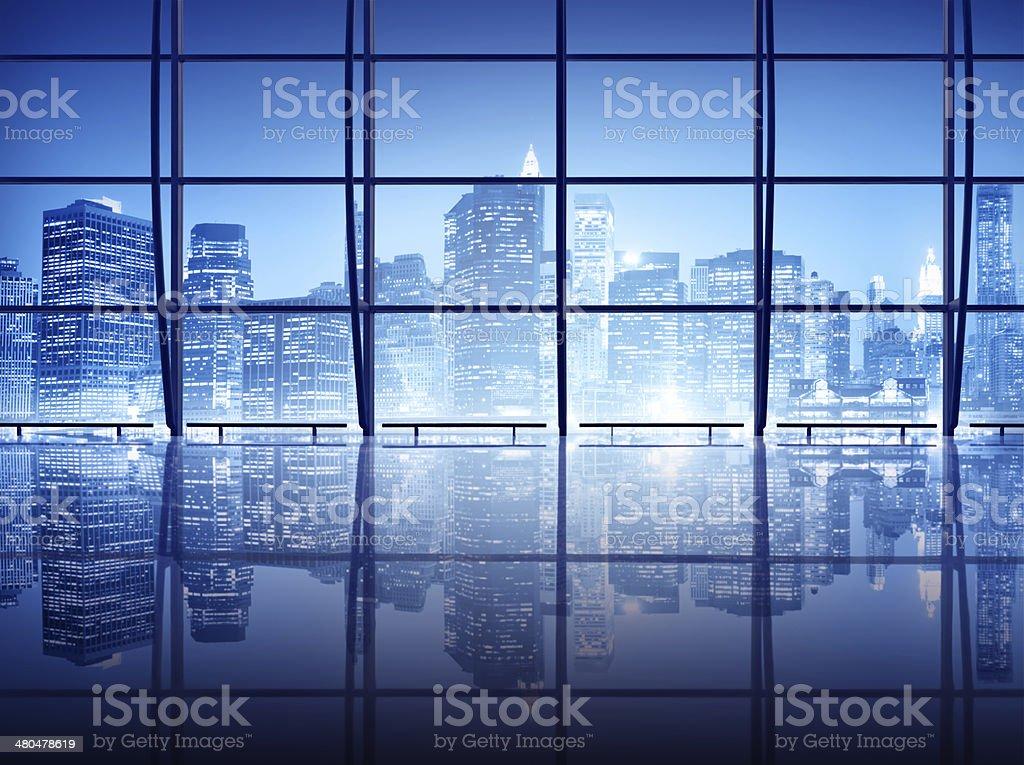 Interior shot of modern windows in New York stock photo