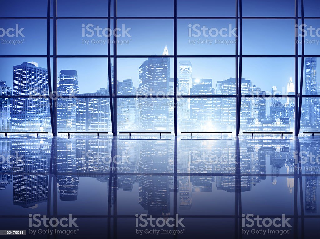 Interior shot of modern windows in New York stock photo