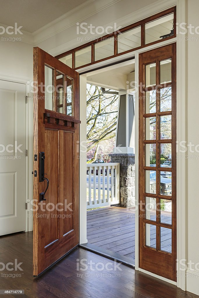 Interior shot of Wooden Front Door stock photo