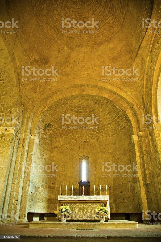 Interior Sovana Cathedral. Italy stock photo
