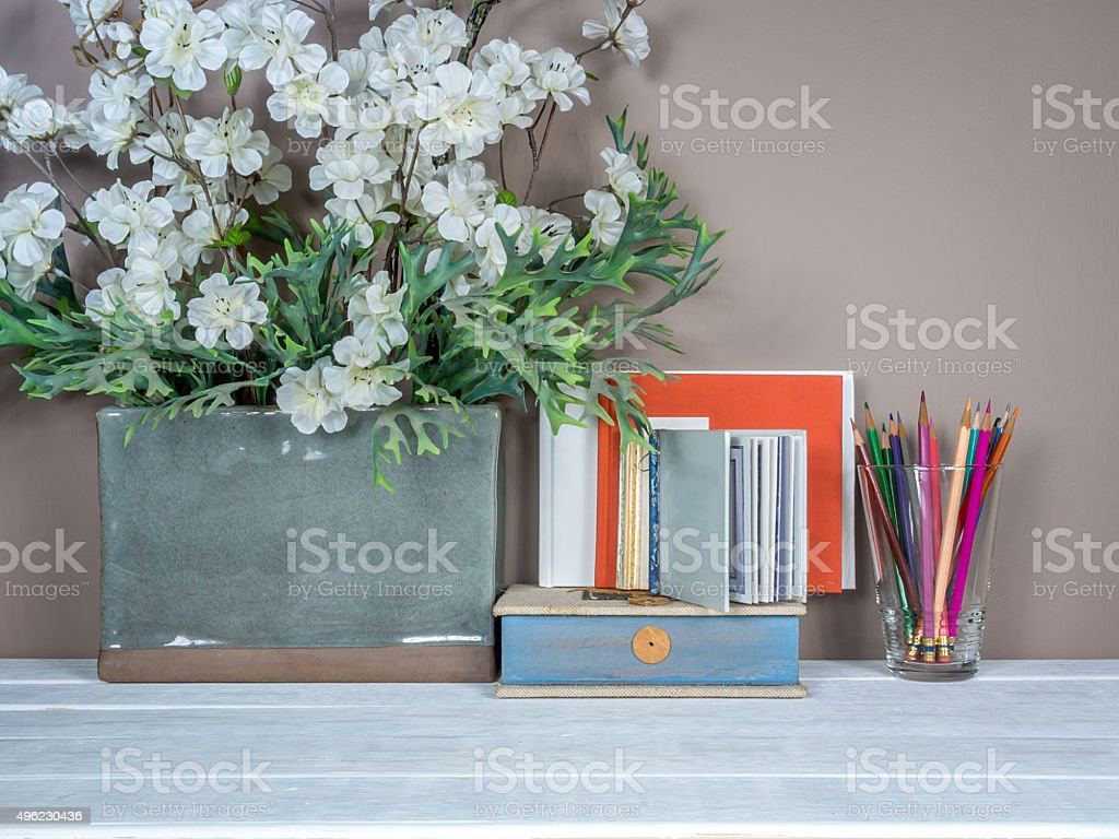 Interior still-life, flower vase on wooden table/ home improvement concept stock photo