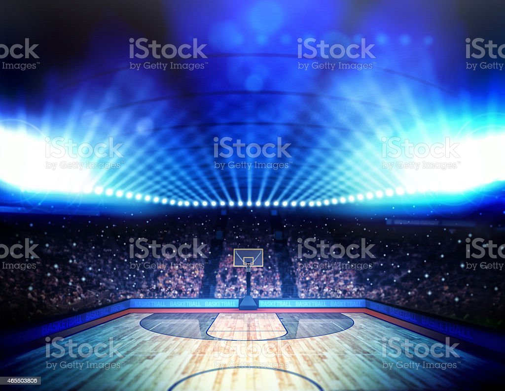 Interior view of a basketball arena stock photo
