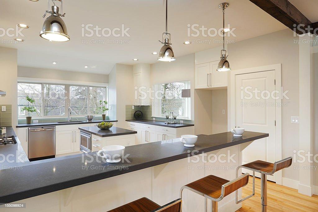 Interior view of a bright luxury kitchen stock photo