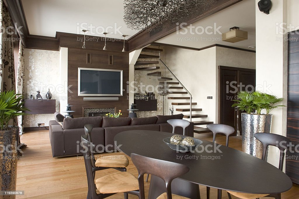 Interior view of a dark brown living room stock photo