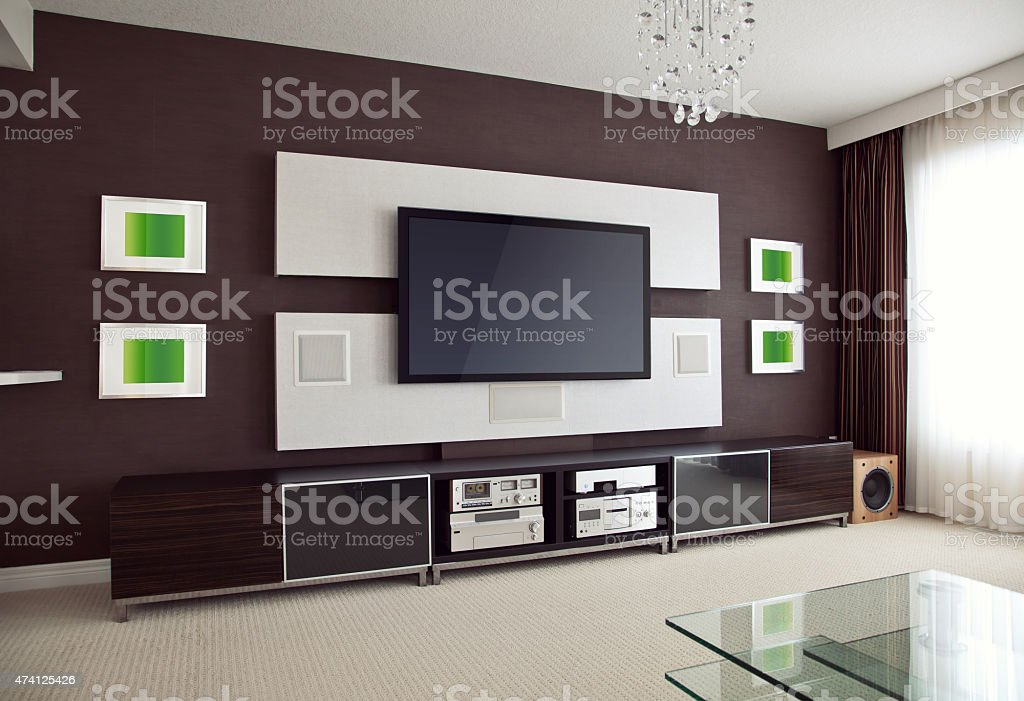 Interior view of a home theater room with a flat screen tv stock photo