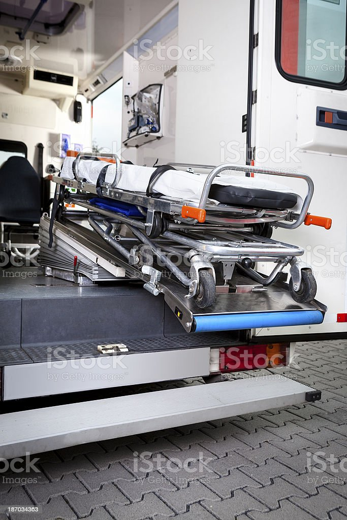 Interior view of a modern ambulance - stretcher royalty-free stock photo