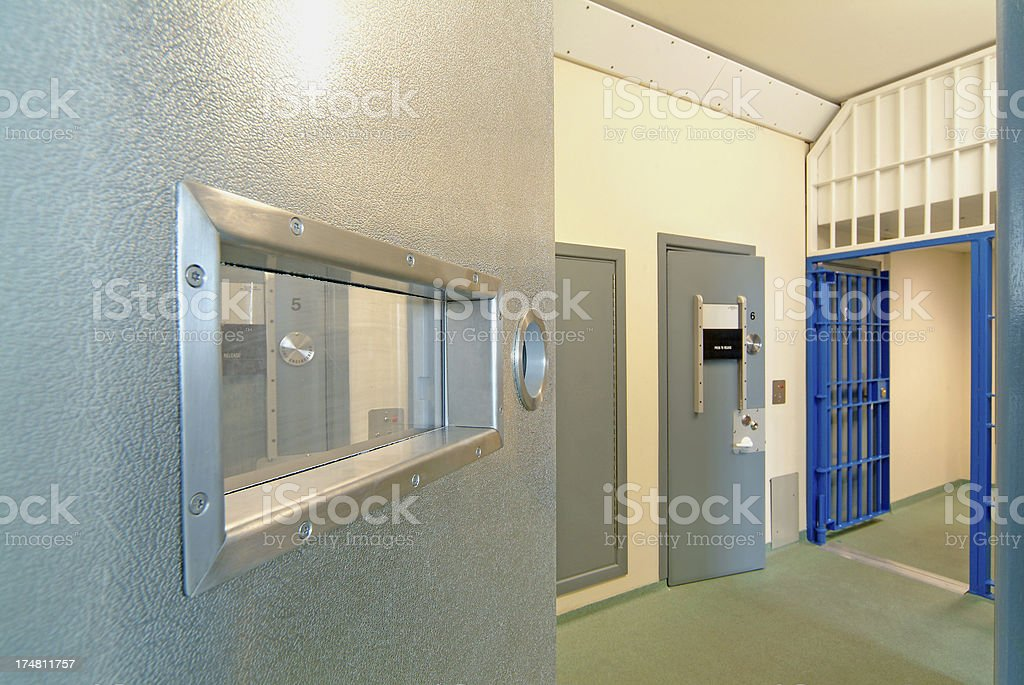 Interior view of a modern prison with open doors stock photo