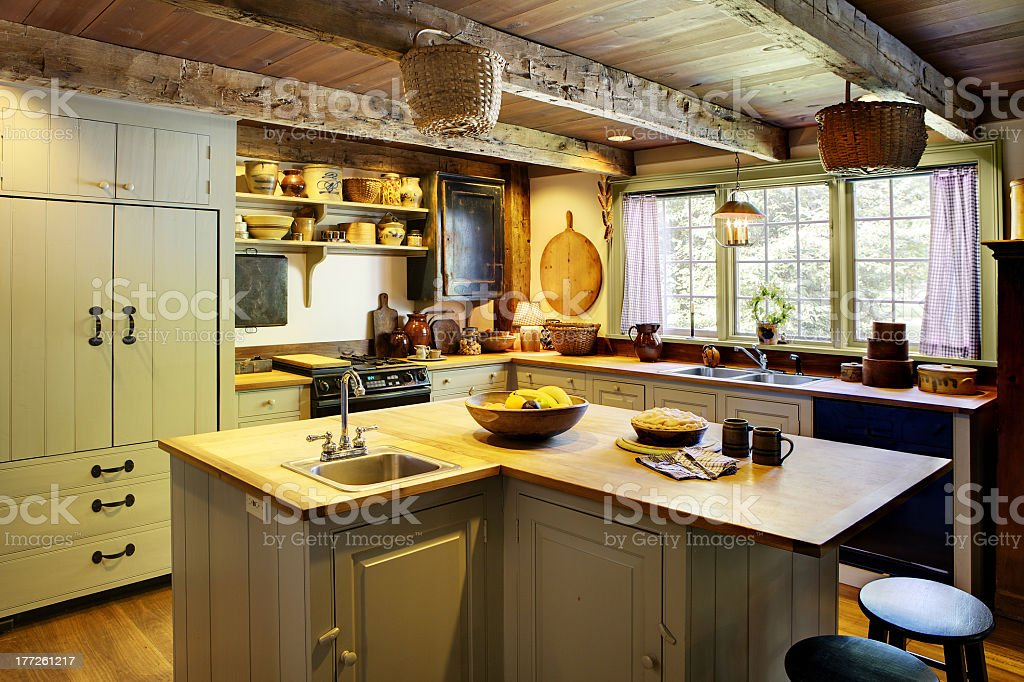 Interior view of a primitive colonial kitchen stock photo