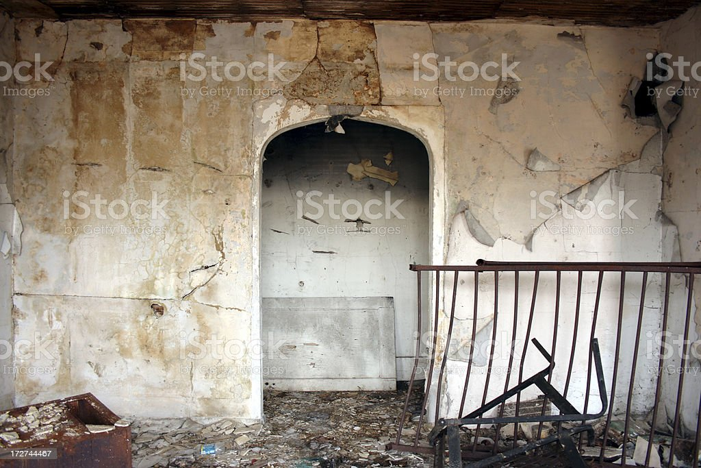 Interior view of abandoned home in Fife Washington royalty-free stock photo