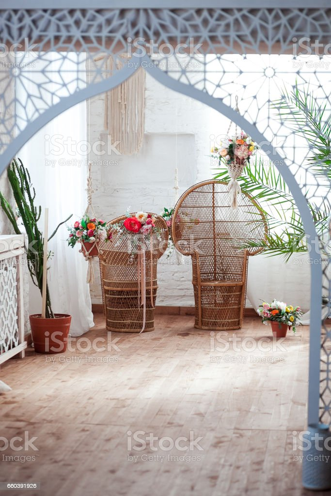 Interior view of an arabian room with traditional furniture, carpet, Marrakech, Morocco, North Africa stock photo