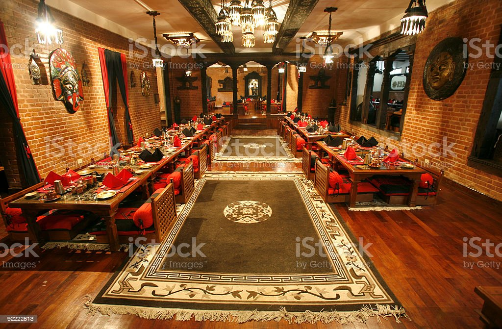 Interior view of an empty restaurant stock photo