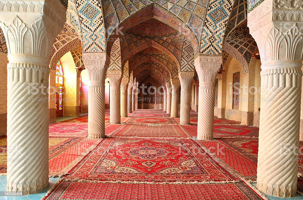 Interior view of columns at Nasir al-Mulk mosque in Shiraz stock photo