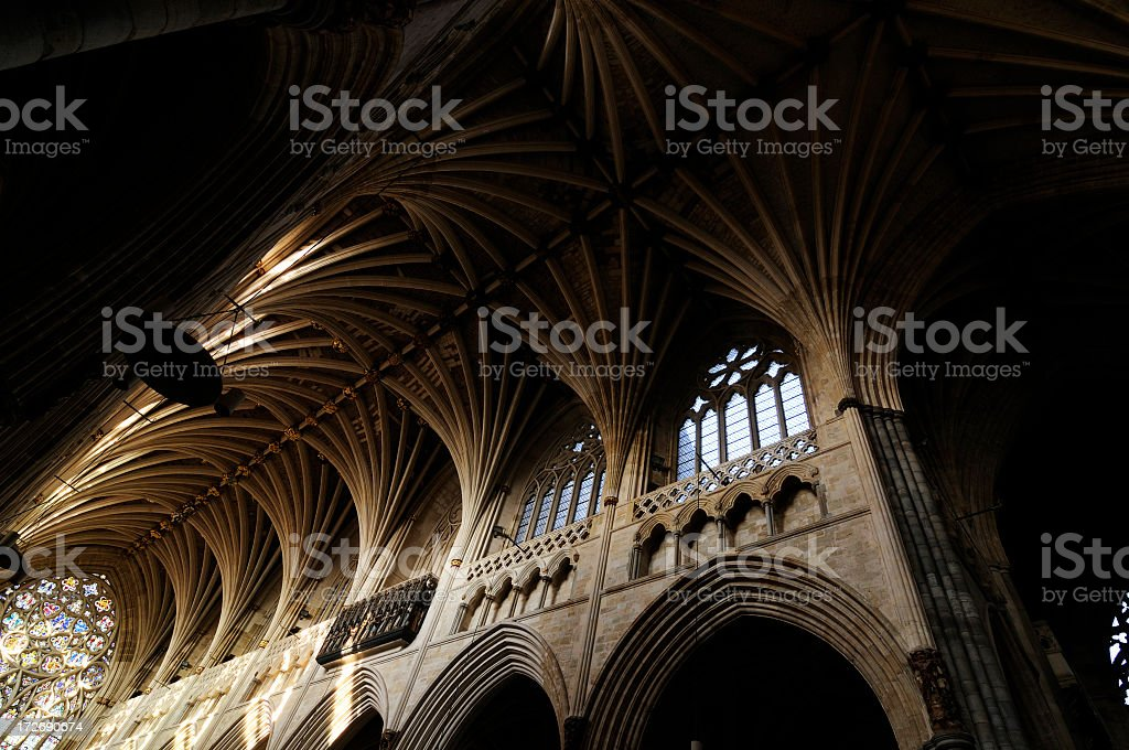 Interior view of Exeter Cathedral stock photo