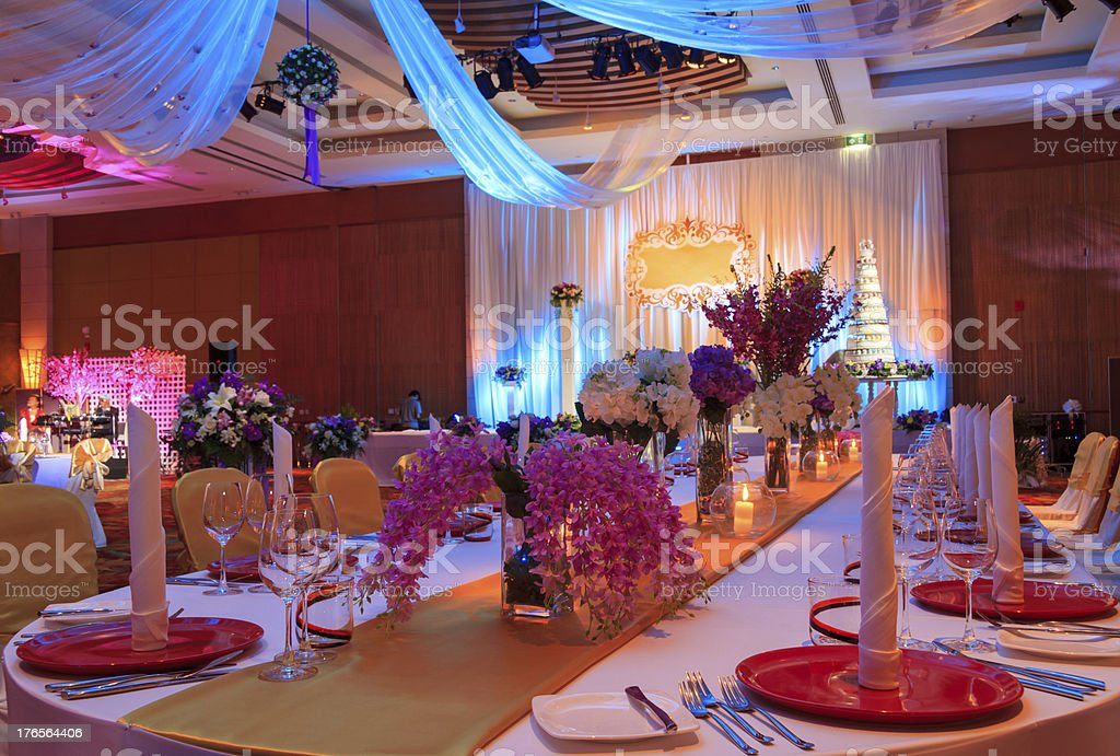 Interior view of ornately decorated wedding hall stock photo