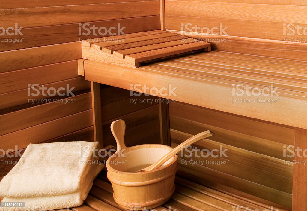 Interior View of Sauna Bath stock photo
