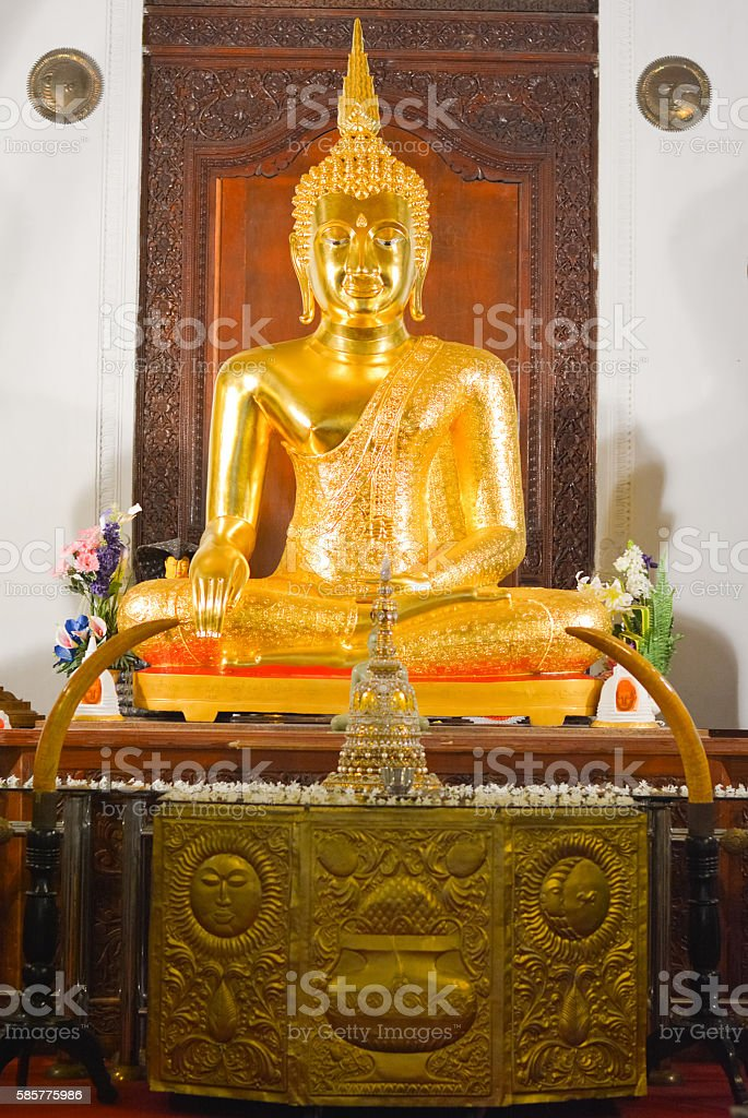 Interior View Of Temple Of The Sacred Tooth Relic stock photo