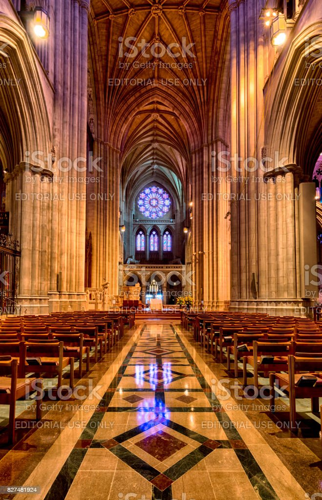 Interior view of the main aisle in the Cathedral Church of Saint Peter and Saint Paul in Washington DC commonly referred to as Washington National Cathedral. stock photo