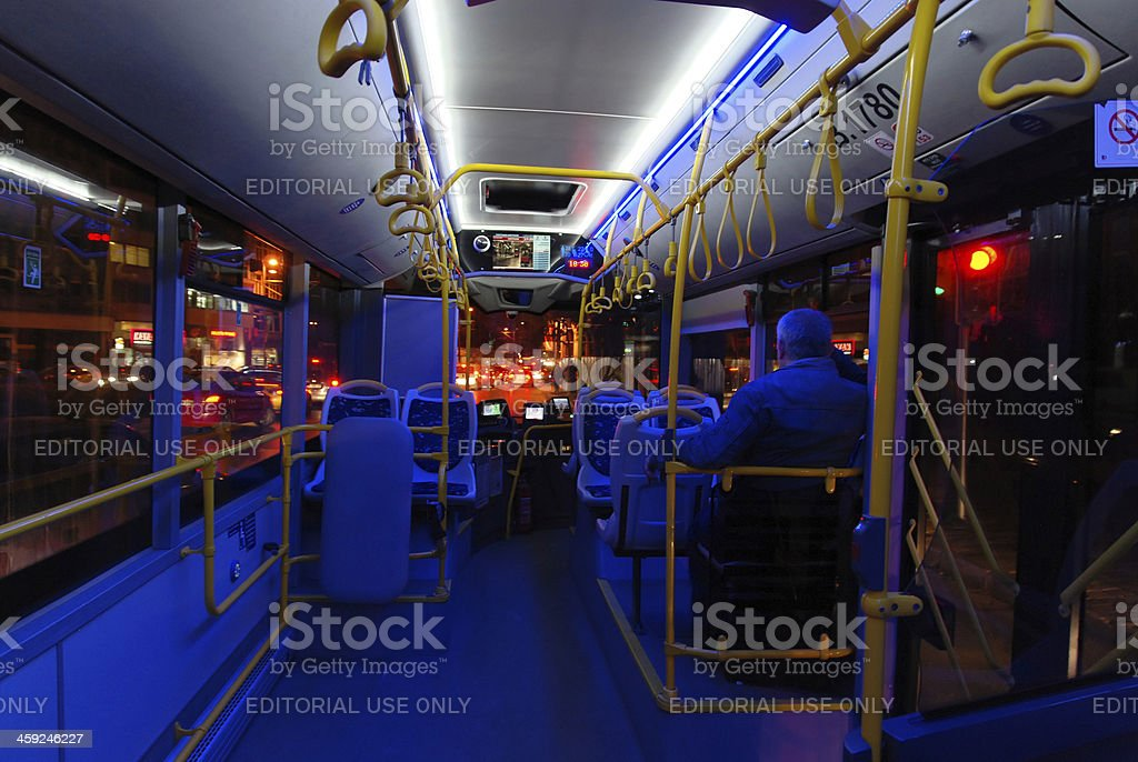 Interior view of the new buses in Istanbul stock photo