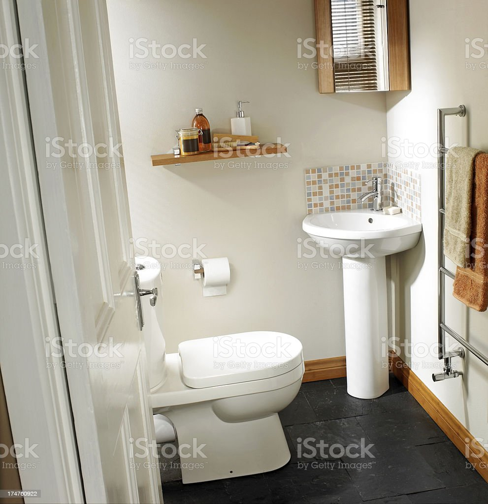 Interior view of toilet and sink in stylish bathroom royalty-free stock photo