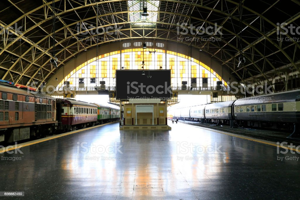 Interior view of train station stock photo