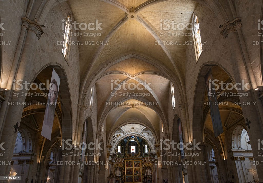 Interior view of Valencia Cathedral royalty-free stock photo