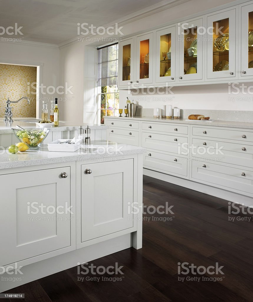 Interior view of white traditional style country kitchen stock photo