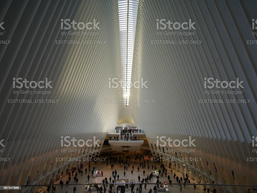 Interior view of World Trade Center Oculus structure which is a mall and a transportation hub of Path and MTA subway system. stock photo