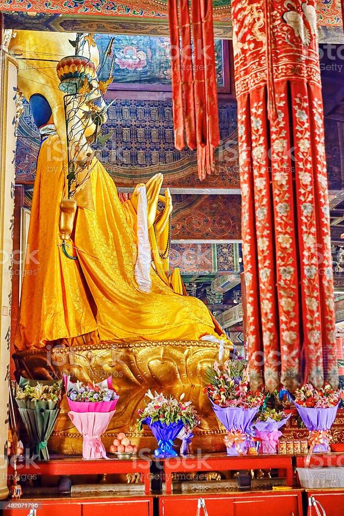 Interior view of Yonghegong Lama Temple. Beijing. stock photo