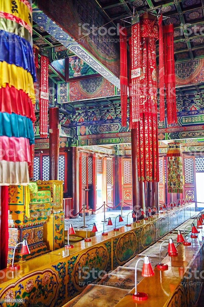 Interior view of Yonghegong Lama Temple.Beijing. stock photo