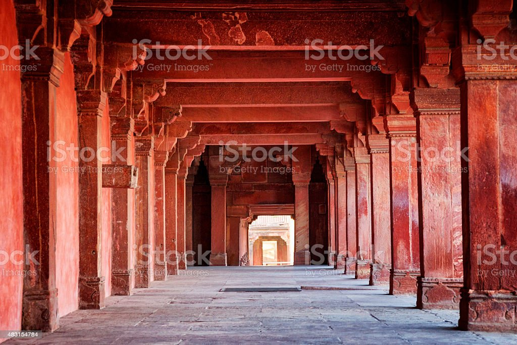 Interior walkway at the ancient city of Fatehpur Sikri, India stock photo