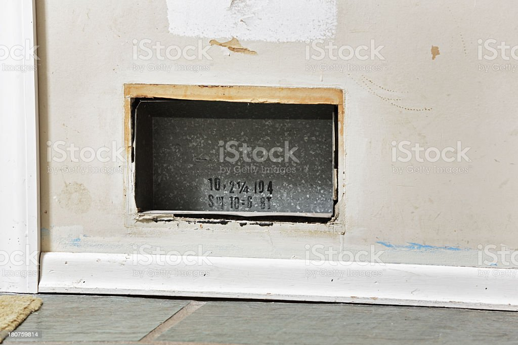 Interior Wall Air Duct During Renovation stock photo