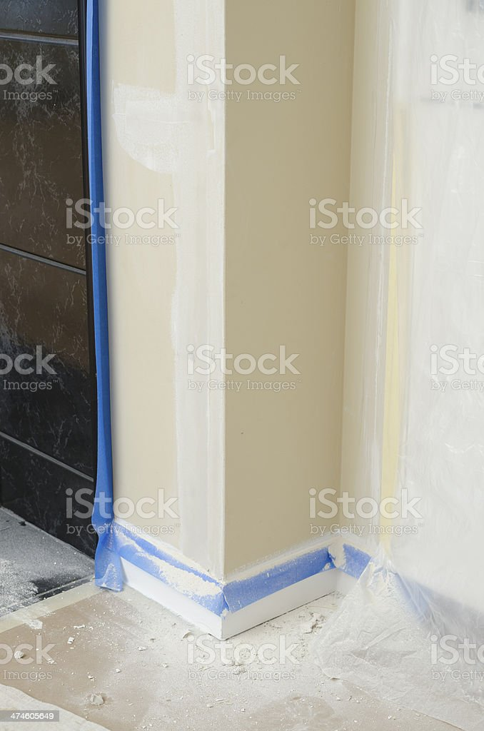 Interior wall prepared for painting stock photo