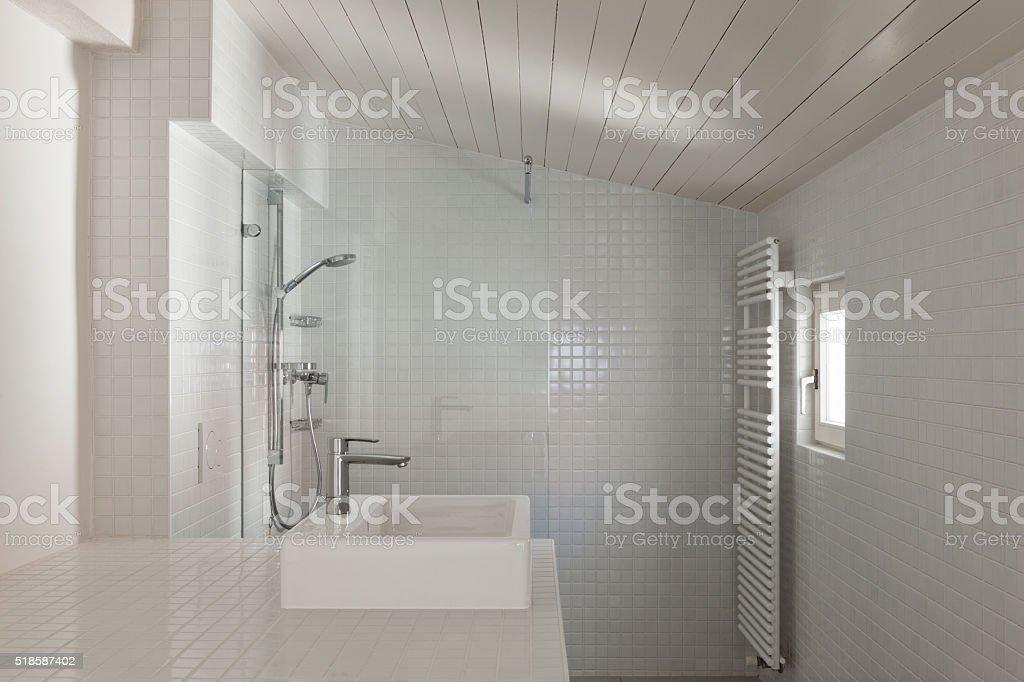 interior, white bathroom stock photo