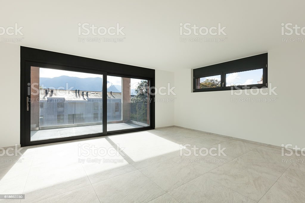 Interior, wide room with balcony stock photo