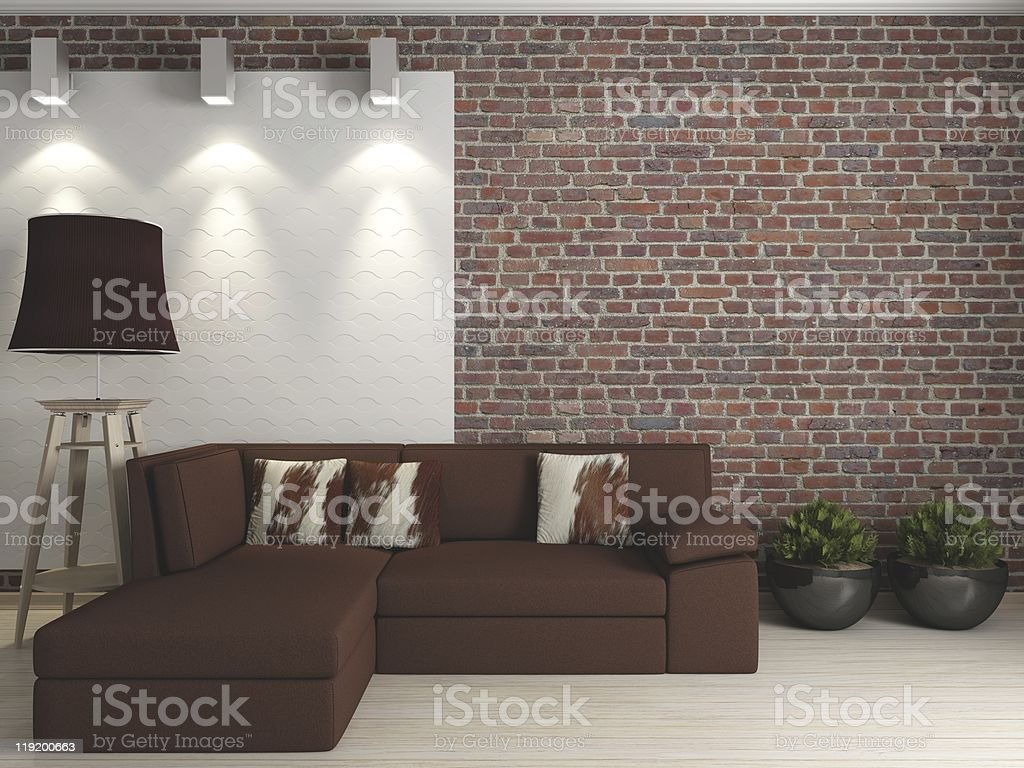 interior with a brick wall royalty-free stock photo