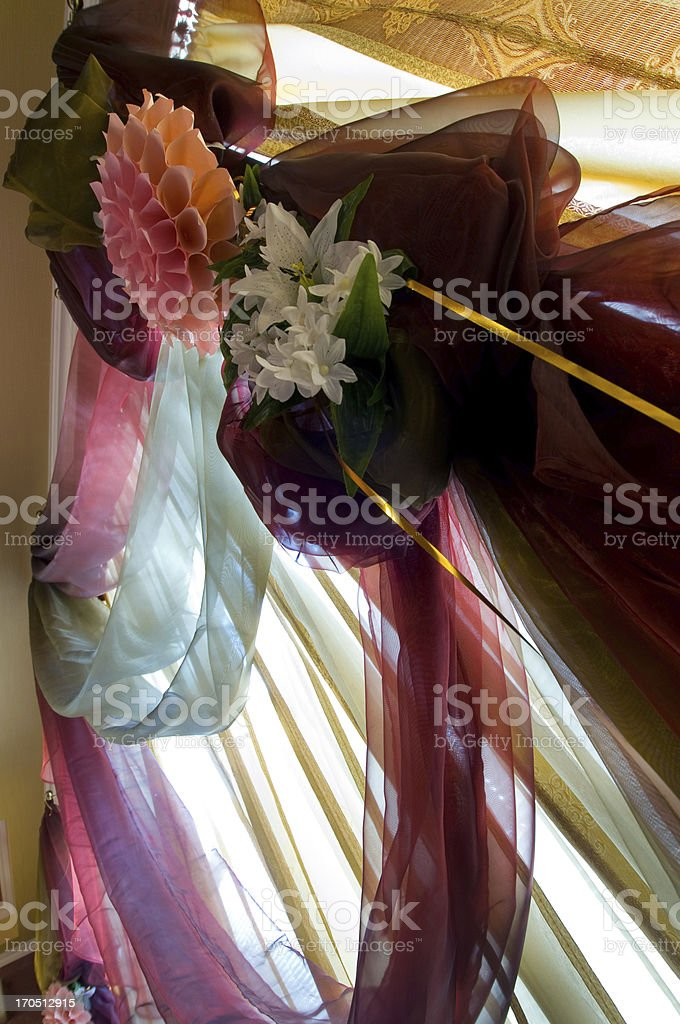 interior with a window and curtains stock photo