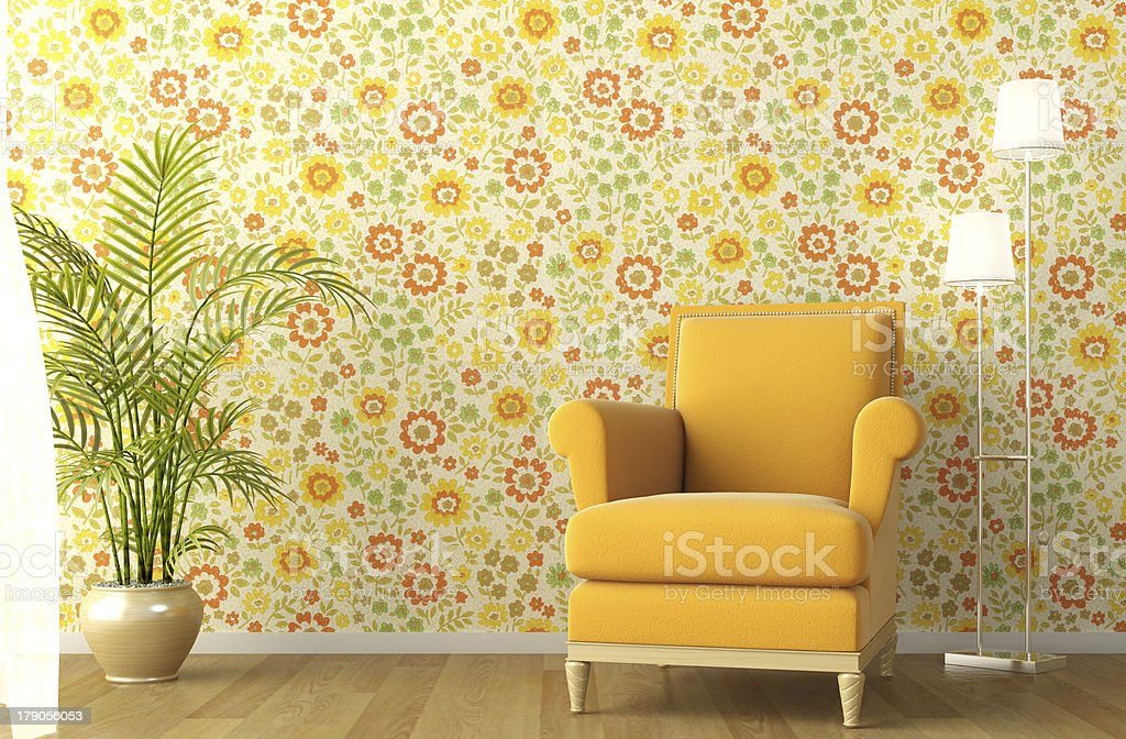 interior with armchair and flowery wallpaper stock photo