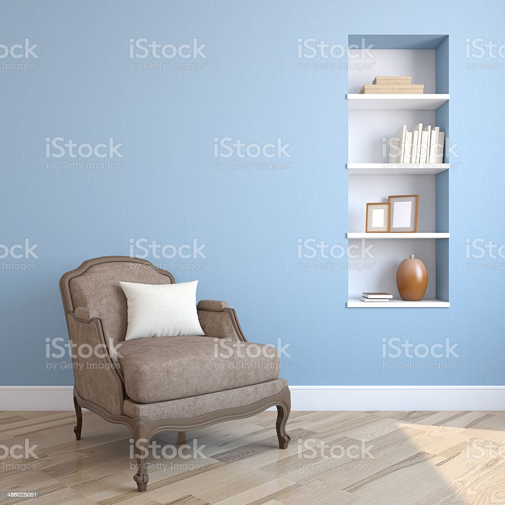 Interior with armchair. stock photo